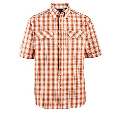 Wolverine Men's Pentwater Vented Back Short Sleeve Shirt, Terracotta Plaid, Medium ()