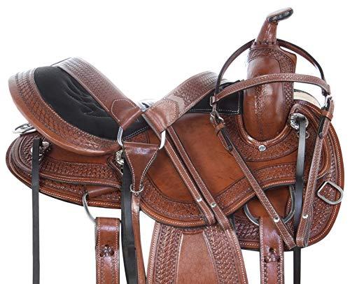 (AceRugs Western Endurance Saddle Memory Foam SEAT Round Skirt Pleasure Trail Riding Premium Leather Horse TACK (Brown, 16))