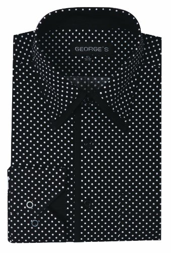 George's 100% Cotton Mini-Polka Dot Pattern Dress Shirt With Double Collar AH617-Black-17-17 1/2-34-35 - Black Mini Dot