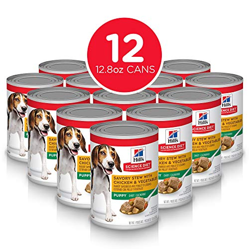 Hill's Science Diet Wet Dog Food, Puppy, Savory Stew with Chicken & Vegetables Recipe, 12.8 oz Cans, 12-pack (Best Wet Dog Food For Puppies)