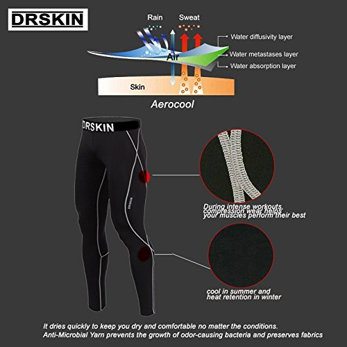 DRSKIN Compression Cool Dry Sports Tights Pants Baselayer Running Leggings Yoga Rashguard Men