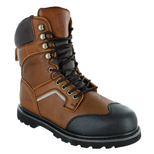 "Rugged Blue 8"" Jackson Steel Toe Work Boots - Brown"