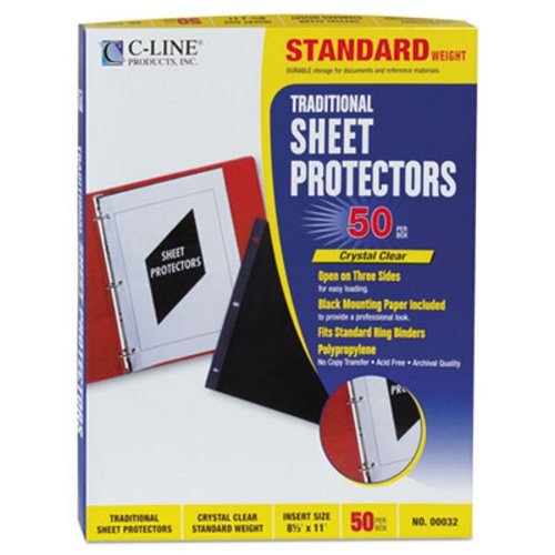 C-Line Traditional Polypropylene Sheet Protector, Heavyweight, 11 x 8 1/2, 50/BX by C-Line