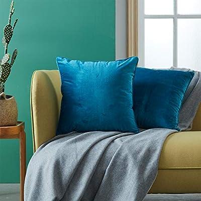 Topfinel juego 2 Hogar cojín terciopelo Decorativa Almohadas Fundas color sólido Para Sala de Estar sofás 50x50cm Turquesa