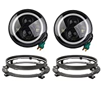 """VOSICKY a pair 7"""" Inch led Round LED Halo Headlight Daymaker Angel Eyes DRL with 7"""" bracket ring support for Jeep Wrangler JK Hummer Harley(White DRL; Amber turn signal)"""
