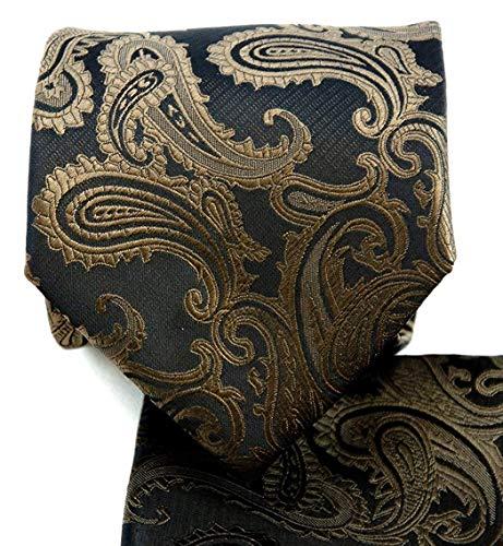 Necktie Brown Paisley Design - 3.5 Paisley Necktie Set #600-Q-Brown/Black