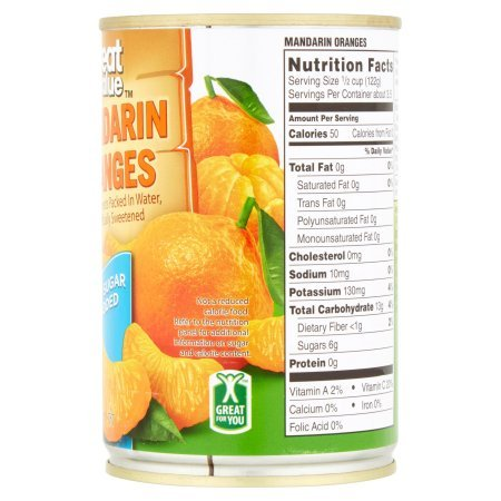 Amazon.com : Great Value Mandarin Oranges In Water, No Sugar Added, 15 Oz, Pack of 12 : Grocery & Gourmet Food