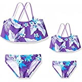 2PCS Mommy and Me Matching Swimwear Flower Floral Print Lace Ruffle One Piece Bikini Set