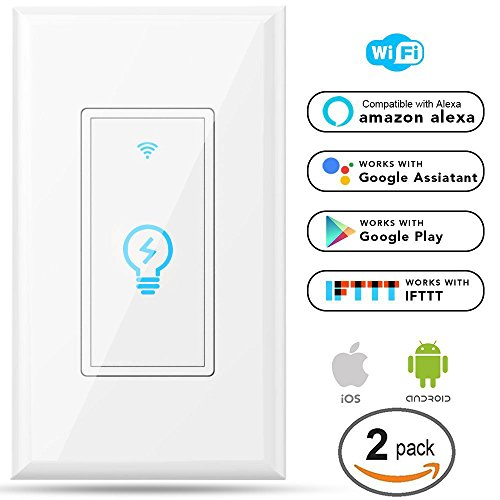 15a Remote (Megadream Alexa WiFi Light Switch, Smart On/Off Wall Switch, Timing, Wireless Voice App Remote Control, Overload Protection 15A, Compatible Amazon Alexa & Google Home & IFTTT No Hub Required - 2Packs)
