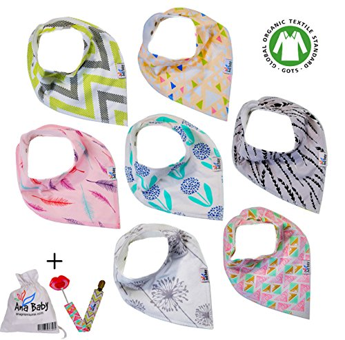 Premium Baby Bandana Drool Bibs 3 Snaps 7-Pack Gift Set for Drooling and Teething 100% Organic Cotton,Hypoallergenic -for Girls, Free Pacifier Clip+E book+Gift bag by Ana Baby