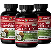 weight loss food - COCONUT OIL 3000MG - EXTRA VIRGIN - PURE AND POTENT INGREDIENTS - coconut oil weight loss - 3 Bottles (180 Softgels)