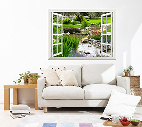 wall26 Removable Wall Sticker/Wall Mural - Clear Spring and Green Grass Out of The Open Window Creative Wall Decor - 36''x48'' by wall26 (Image #1)