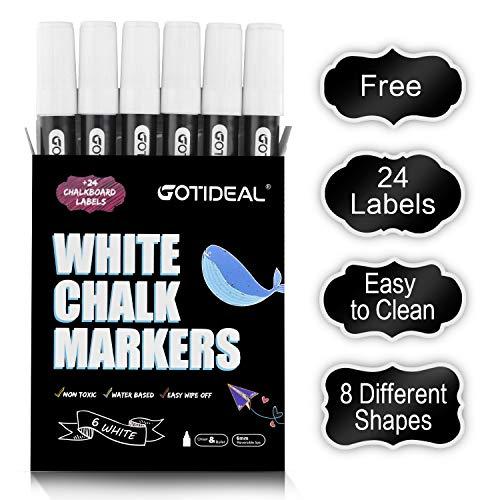 GOTIDEAL Liquid Chalk Markers, 6 Pack White Chalk Pens for Windows, Chalkboard Signs, Blackboard, Glass Painting, Dry & Wet Erase - 6mm Reversible Medium Tip-24 Free Chalkboard Labels ()