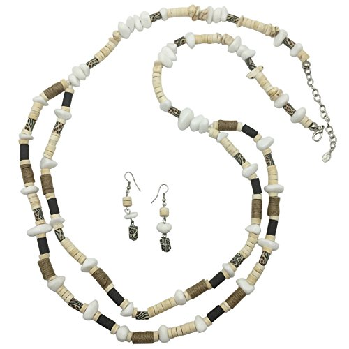 Long Natural Elements Layered Bead Necklace & Earrings Set (2 Row) (Black Round Necklace Horn)