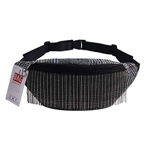 Fashion Bohe Stripe Tribal Print Fringe Fanny Pack Metallic Tassel Waist Chest Bag Purse Grey