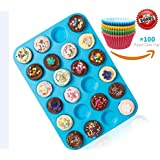 Joyoldelf Large Mini Muffin Pans - 24 Cup Silicone Bakeware Non Stick Muffin Tray, Bonus 100Pcs Random Paper Baking Cups Cupcake Liners