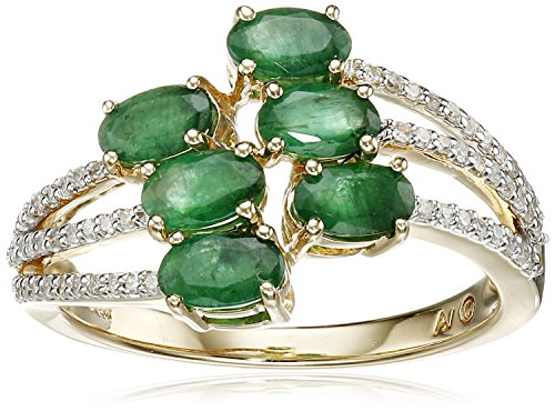 14k Yellow Gold, Cushion-Cut Emerald, and Diamond Ring (1...