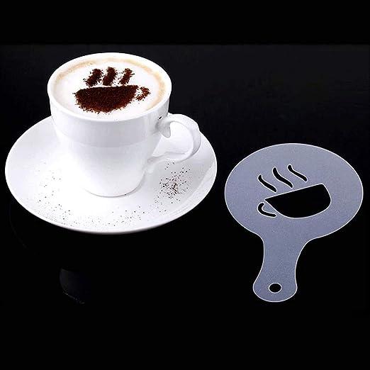 CKANDAY 40 Piezas de Plantillas de decoración de café, 3 Paquetes Espuma Latte Art Barista Plantilla para Decorar Avena Pastel de Pastel de Magdalenas ...