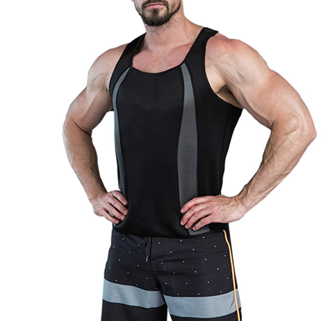 Men's Slimming Body Shaper Compression Shirt Slim Fit Undershirt Shapewear T-Shirt Vest Tank Tops Black by Zainafacai_shapewear