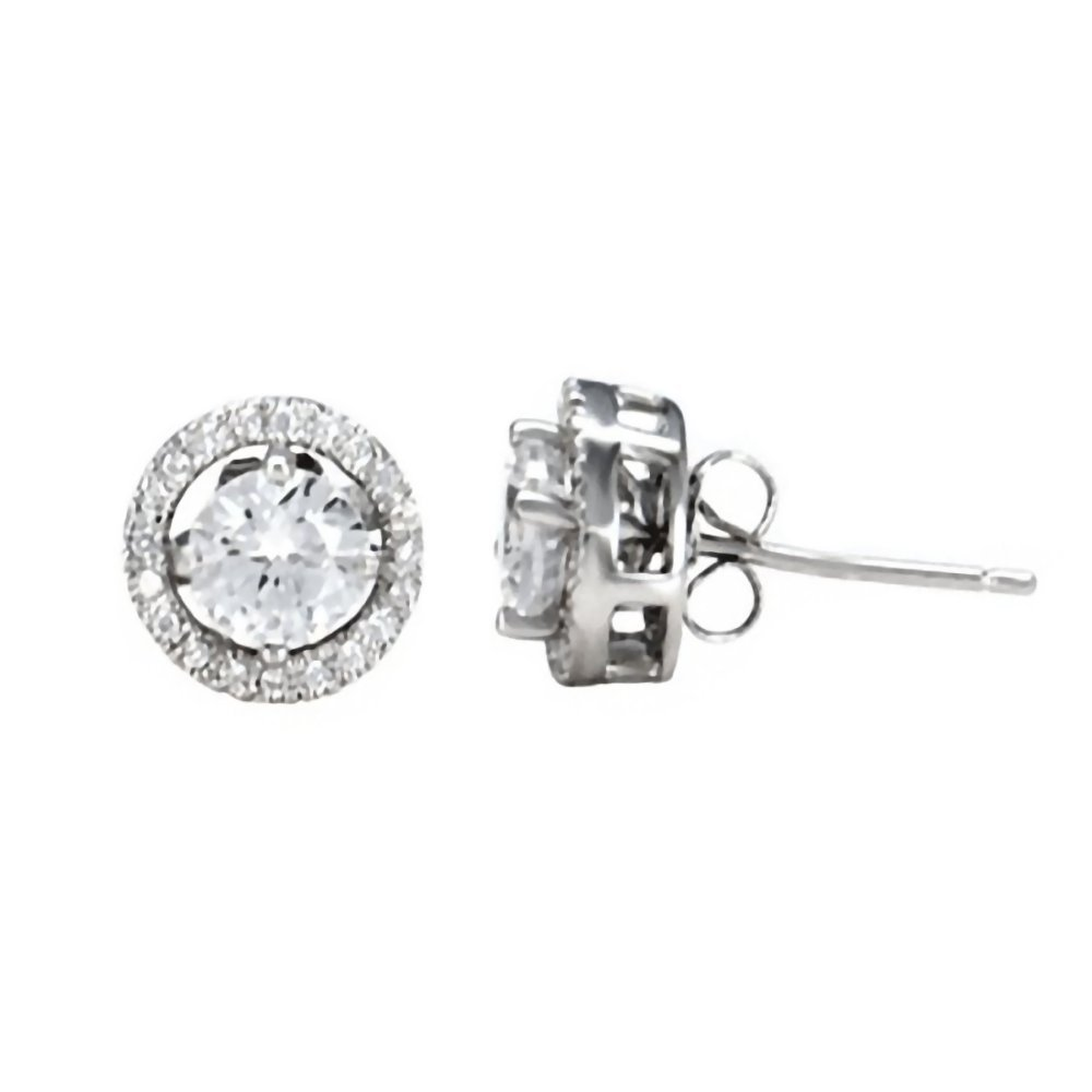 Kristina: 1.7ct 10mm Halo Jacket & 6mm Ice on Fire CZ Basket Stud Earring Set 925 Silver, 0816