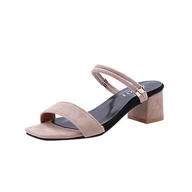 e8768cb3c09da été Soldes,Sandales Plates,Chaussures,Escarpins,Femmes Solid Square Toe  Wedges Sandales