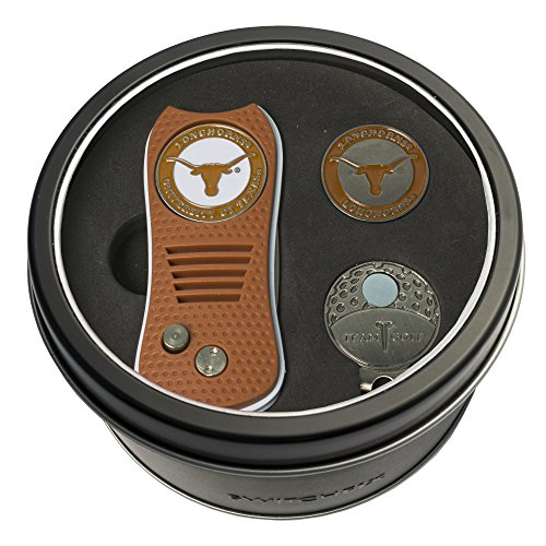 Ball Cap Divot Golf Tool (Team Golf NCAA Texas Longhorns Gift Set Switchfix Divot Tool, Cap Clip, & 2 Double-Sided Enamel Ball Markers, Patented Design, Less Damage to Greens, Switchblade Mechanism)