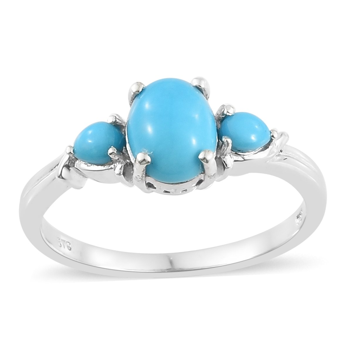 925 Sterling Silver Platinum Plated Oval Sleeping Beauty Turquoise 3 Stone Fashion Ring for Women Size 7