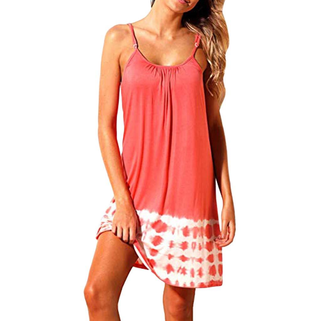 Winsummer Sleeveless Beach Dress Women Summer Casual Spaghetti Strap Sundress Casual Swing A Line Dresses Red