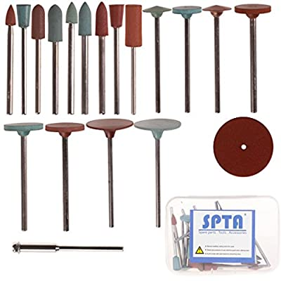"SPTA 3/32"" (2.35mm) Shank Jewelry Tool Rubber Rotary Tools Polishing Burr Dremel 10pcs Diamond-in-rubber Emery Polishing Bit Set - Fits Dremel - Metal, Glass, Stone, Tile Pack Of 18Pcs"
