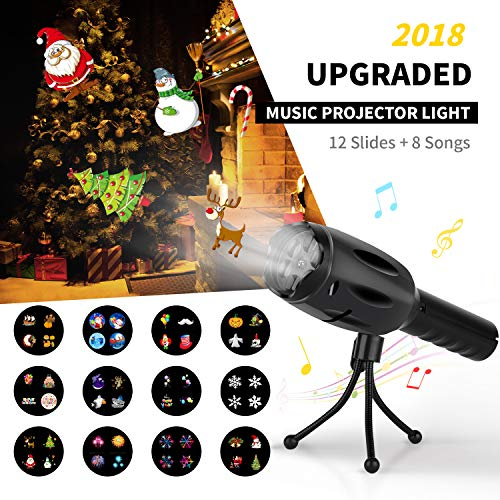 Music Light Projector【2018 UPGRADED】Elindio LED Projector Flashlight 8 Songs Battery Operated 12 Slides LED Decorative Lights & Handheld Flashlight for Kids Xmas GiftParty/Birthday/Christmas/Halloween -