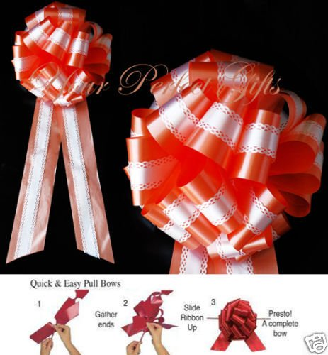 PERSIMMON ORANGE WHITE WEDDING 9'' PULL PEW BOW BRIDAL
