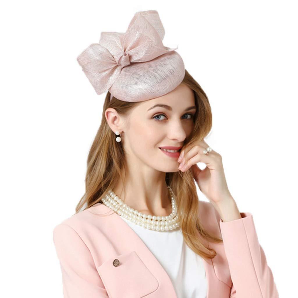 Alihao Fascinator Hat for Women Pink Bowknot Sinamay Pillbox Hat Ladies Wedding Fedoras
