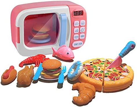Microwave Kitchen Toys Set Pretend Accessories Fake Food Educational Toys Awareness Growth Partner Suitable for boy and Girl 3 4 5 6 Years Old(Pink) – The Super Cheap