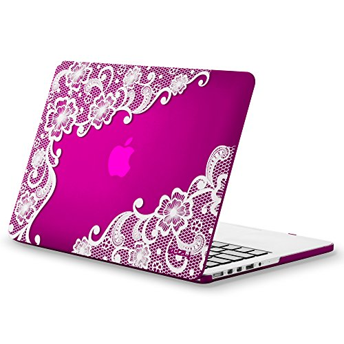 Kuzy Lace Rubberized Hard Case for Older MacBook Pro 15.4 with Retina Display A1398 15-Inch Plastic Shell Cover - Lace Raspberry Pink