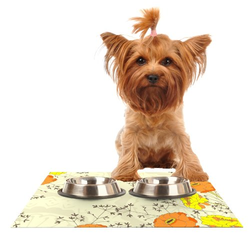 KESS InHouse Nandita Singh Flowers and Twigs Tan Orange Feeding Mat for Pet Bowl, 24 by 15-Inch