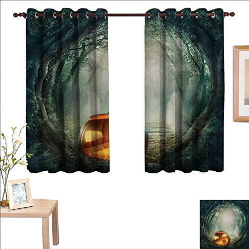 Halloween Customized Curtains Drawing of Scary Halloween Pumpkin Enchanted Forest Mystic Twilight Party Art 55