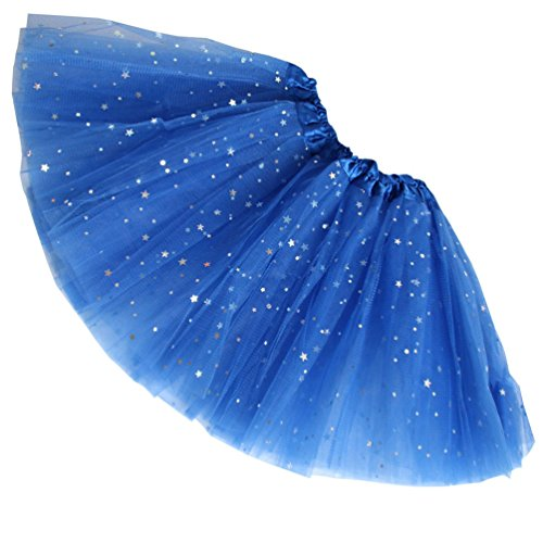 Bjinxn Girls Sparkle Tutus Princess Ballet Dance Layered Tulle Fluffy Tutu Skirt Royal (Little Stars Dance Costumes)