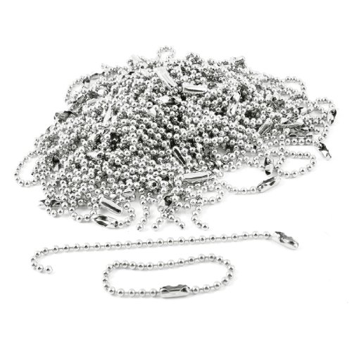"100 Pcs 3.5"" Long 0.09"" Bead Dia Connector Clasp Ball Chain Keychain"