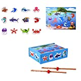 Gbell Wooden Magnetic Fishing Puzzle Toy Ocean Animal Magnetic Classic Wooden Fishing Game Set Educational Toy For 2, 3, 4 Year Olds Kids, Toddler,Preschool,iPlay, iLearn (A)
