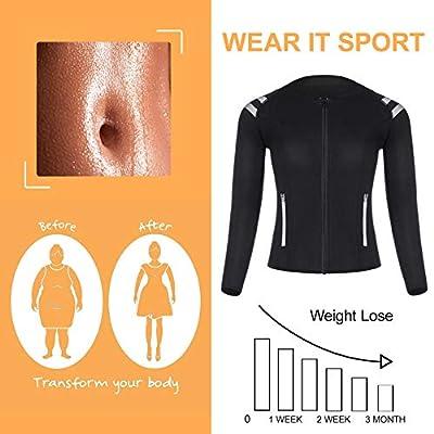 Amazon.com : LODAY Womens Neoprene Sauna Body Shaper Suit Hot Sweat Tummy Slimmer Workout Jacket Top Full Zip Up : Clothing