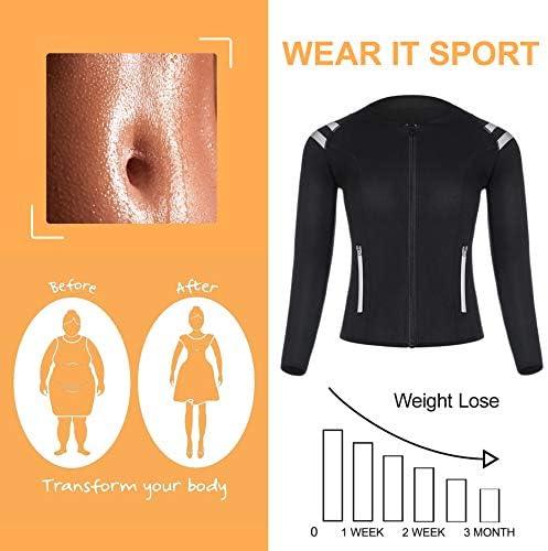 LODAY Womens Neoprene Sauna Body Shaper Suit Hot Sweat Tummy Slimmer Workout Jacket Top Full Zip Up 7