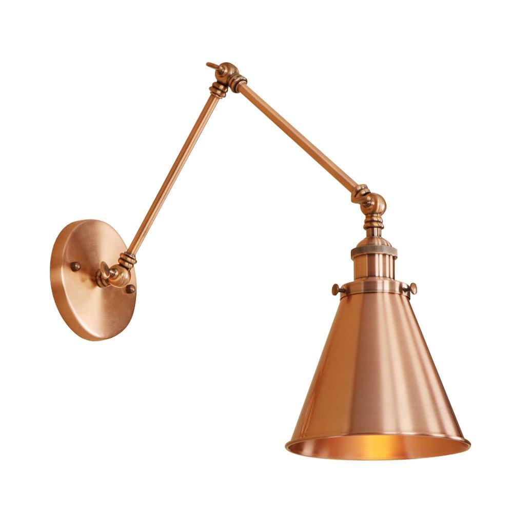 AOKARLIA Premium Retro Aplique De Pared, Industrial Lámpara De Brazo Giratorio/Dorado Luces Del Tubo De Agua - E27,Gold,15+15Cm