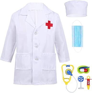 Unisex Kids Lab Coat Long Sleeves Doctor Cosplay Fancy Dress up Party Costume