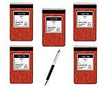 5 X Ampad Gold Fibre Retro Writing Pad, Red Cover, Ivory Paper, 5 x 8, Medium Rule, 80 Sheets, 1 Each (20-007) - Bundle Includes Plexon® Crystal Pen