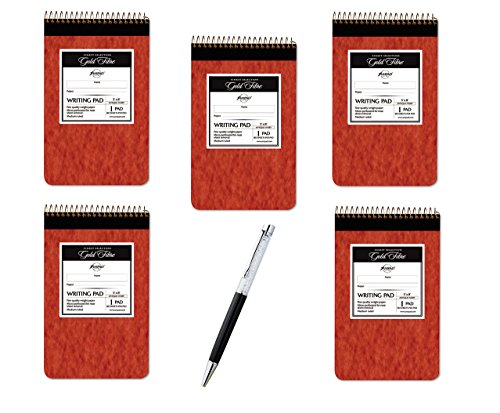 5 X Ampad Gold Fibre Retro Writing Pad, Red Cover, Ivory Paper, 5 x 8, Medium Rule, 80 Sheets, 1 Each (20-007) - Bundle Includes Plexon® Crystal Pen by Ampad