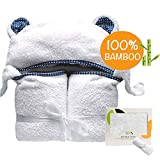 Organic Hooded Baby Towel | 100% Bamboo, Hypoallergenic, Highly Absorbent, Antibacterial & Natural UV Protectant | Bonus Bamboo Washcloth | Soft & Delicate Fabric | Perfect Gift for Newborns, Infants & Toddlers | 500 GSM | 35 x 35 In (Polky)