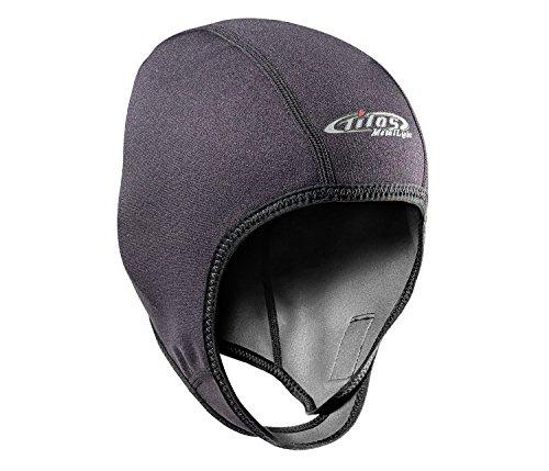 Tilos 1mm Metal-Light Coated Neoprene Adjustable Beanie for Surf Surfing Kayak Rafting Canoe Snorkel Swimming Cap Hat (Black, L)