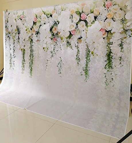 HUAYI 10x8ft White Flower Backdrop Curtain Floral 3d flower Wedding Party Background Photo Backdrop for wedding reception Baby shower Photo Booth Props Xt-6749 by HUAYI (Image #2)