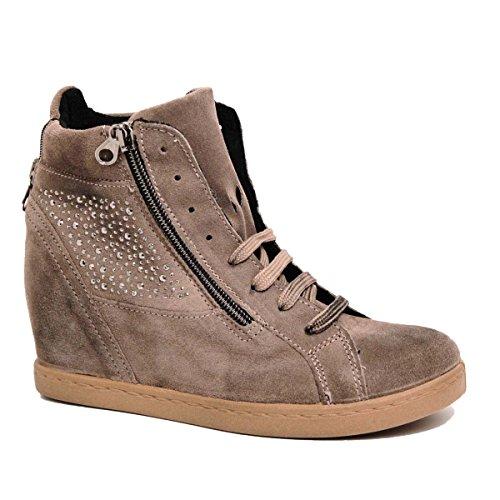italie en cuir Fango véritable Gris main la de permettent daim baskets ovye fabriquéà véritable orné femme chaussures en Taupe en Cristina by lucchi 0nwUYxBqH