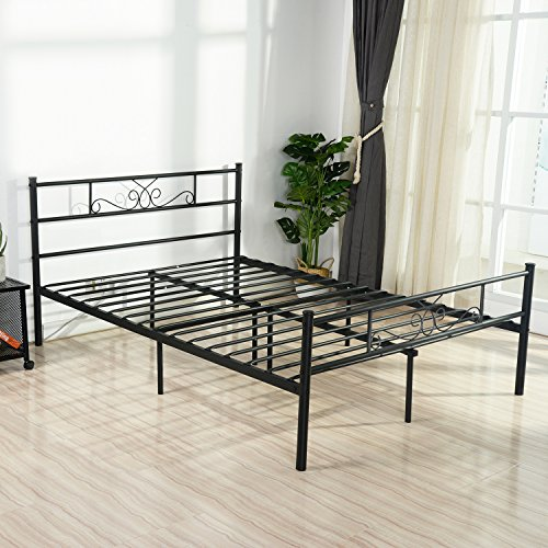 SimLife Full Size Metal Bed Frame with Headboard and Footboard Mattress Foundation Platform Bed No Box Spring Needed Black